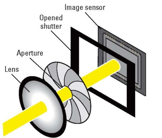 The aperture size and shutter speed determine how much light strikes the image sensor.