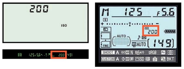 Press the ISO button while rotating the main command dial to adjust ISO.
