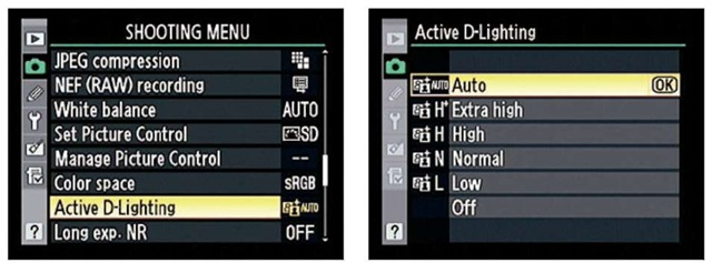 At the Auto setting, the camera automatically applies the amount of Active D-Lighting adjustment as it sees fit.