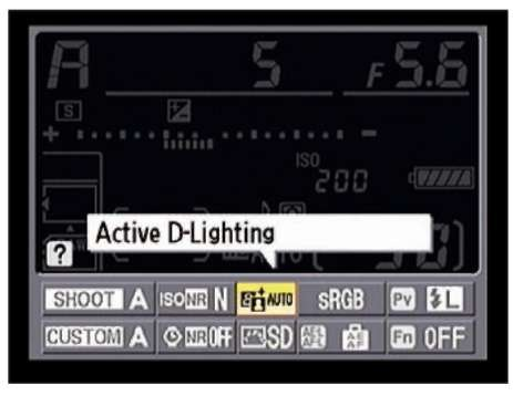 You can also access the D-Lighting options from the Information display control strip.