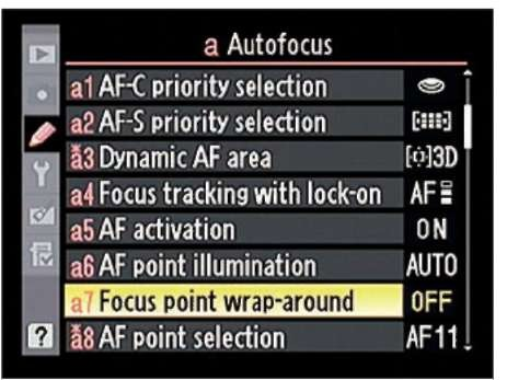 This option controls whether you can jump from one edge of the frame to the other when selecting a focus point.