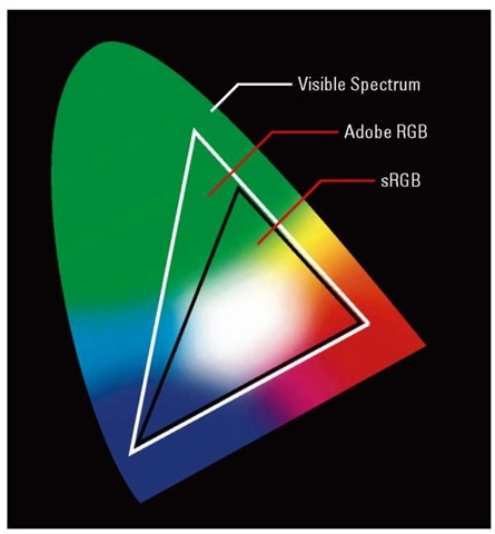 Adobe RGB includes some colors not found in the sRGB spectrum.