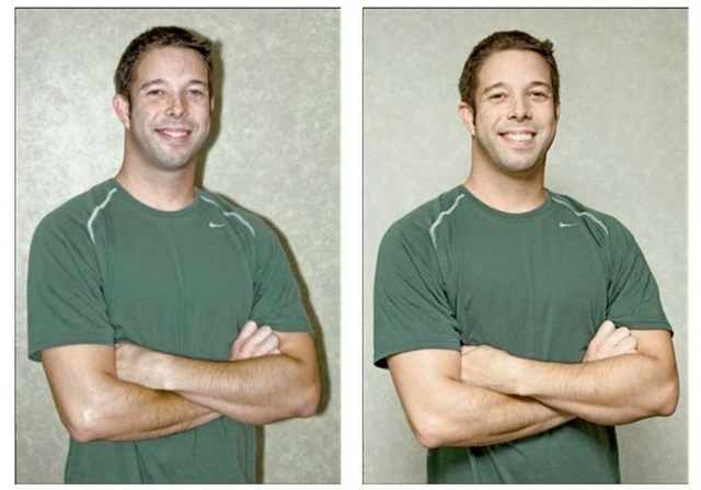 To eliminate harsh lighting and strong shadows (left), I used bounce flash and moved the subject farther from the background (right).