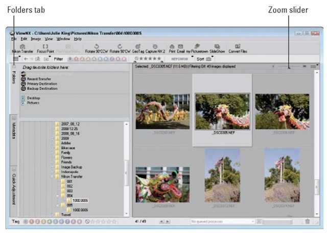 You can browse and organize your photos using Nikon ViewNX.