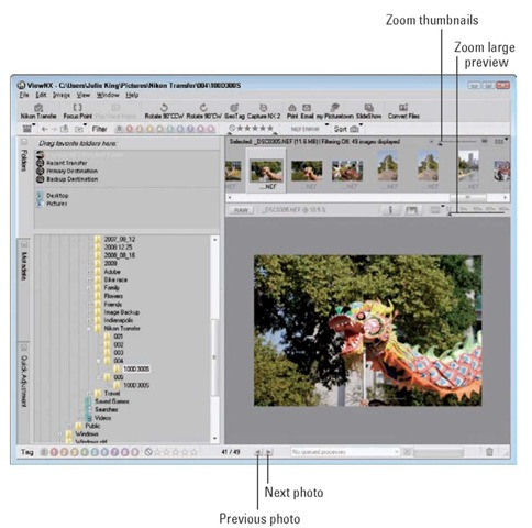 Change to Image Viewer display to see pictures in filmstrip style.