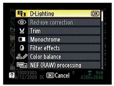In single-frame playback view, just press OK to bring up the Retouch menu.