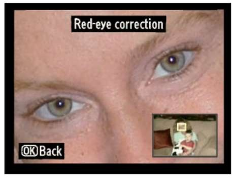 Zoom in to magnify the image and check the red-eye repair.