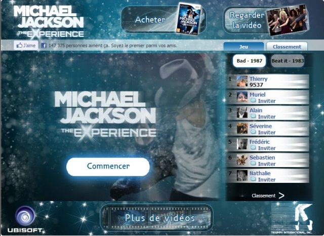 video sur l application facebook du jeu the experience de michael jackson