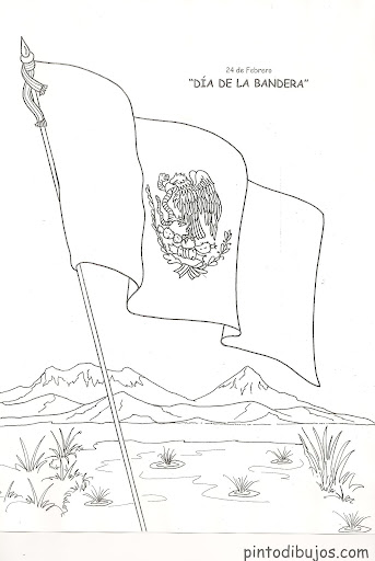 Flag day in México – 24 de febrero, coloring pages