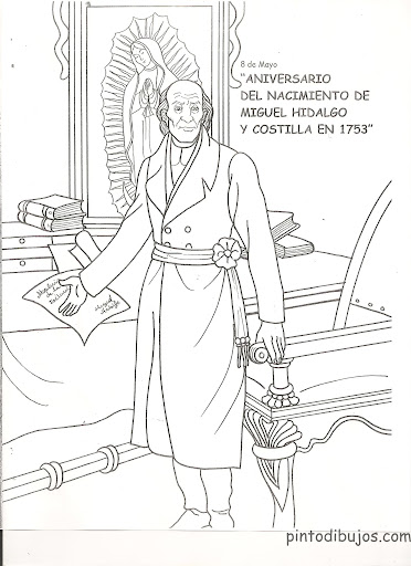 Miguel Hidalgo Coloring pages, Mexican Heroes