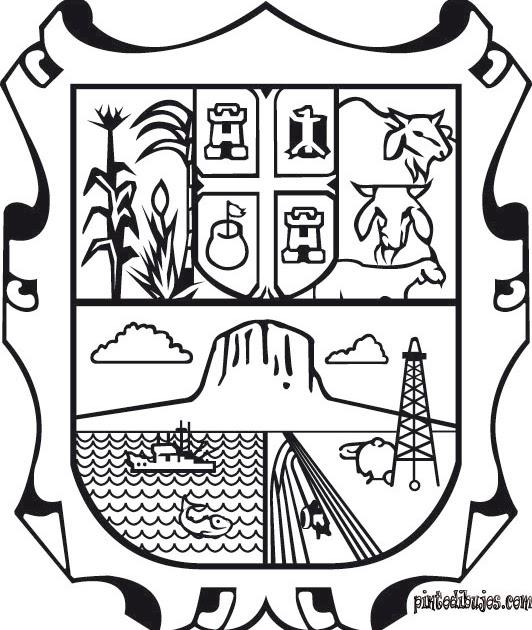 Pinto Dibujos: Escudo de Tamaulipas para colorear