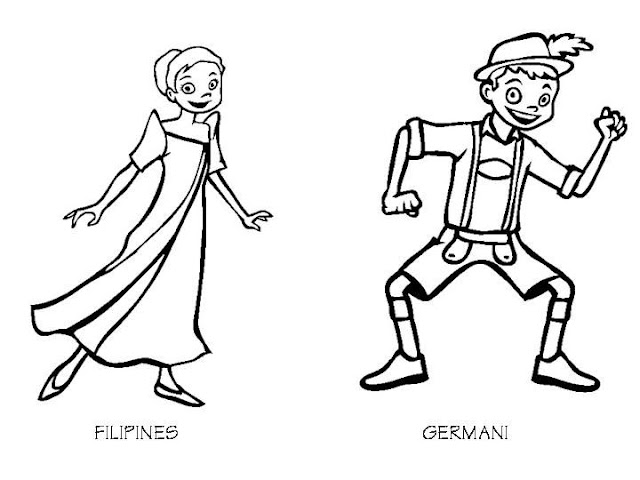 Philippines and Germany costumes coloring pages
