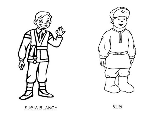 Outfit of Russia, coloring pages