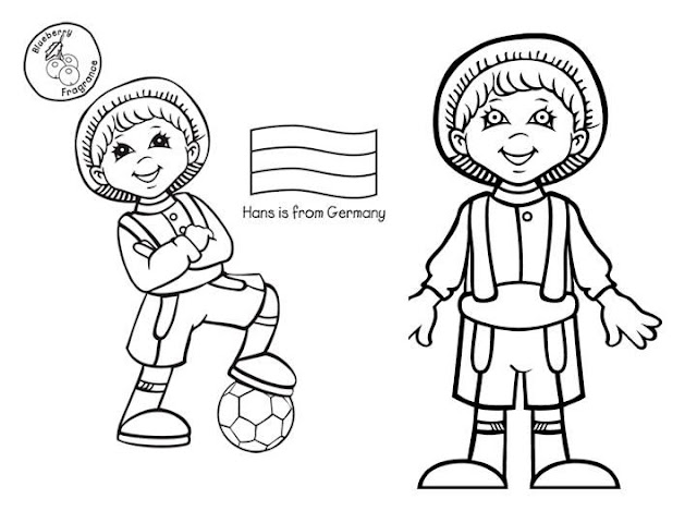 Costume of Germany, free coloring pages