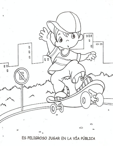 Children skating on the street, free coloring pages