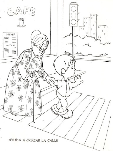 child Helping  cross the street, free coloring pages