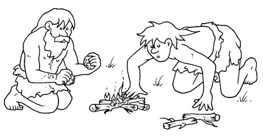 Discovery of fire - free coloring pages