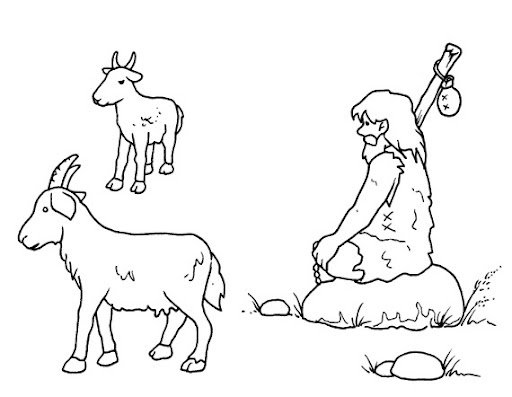 Man invents animal husbandry, free coloring pages