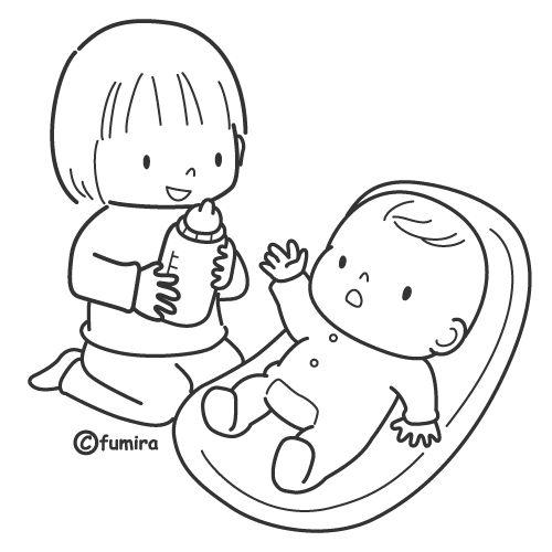 Niña con bebé para colorear