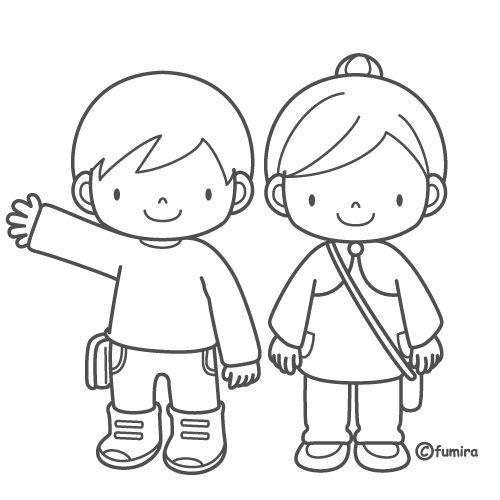 Students with uniform, free coloring pages | Coloring Pages