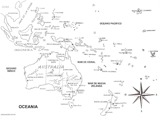 Map of Oceania in spanish free coloring pages Monday October 25 2010