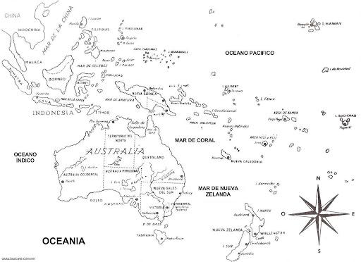 Pinto Dibujos: Mapa de Oceanía para colorear