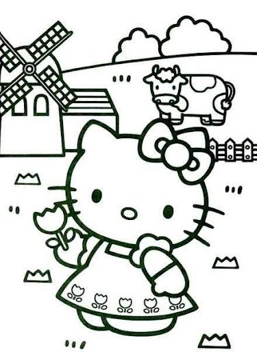 Hello Kitty en el campo para colorear