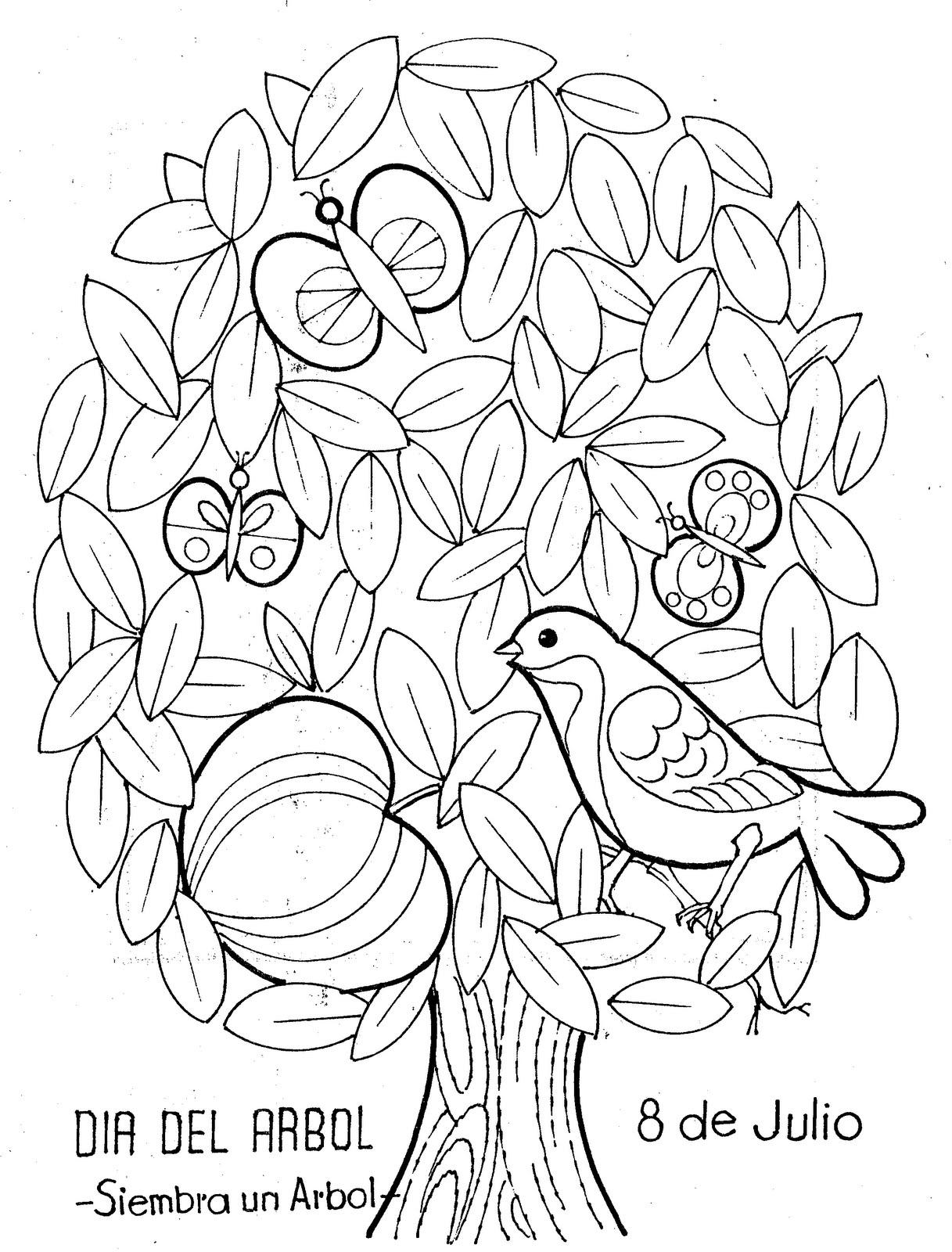 8 de julio - día del árbol para colorear