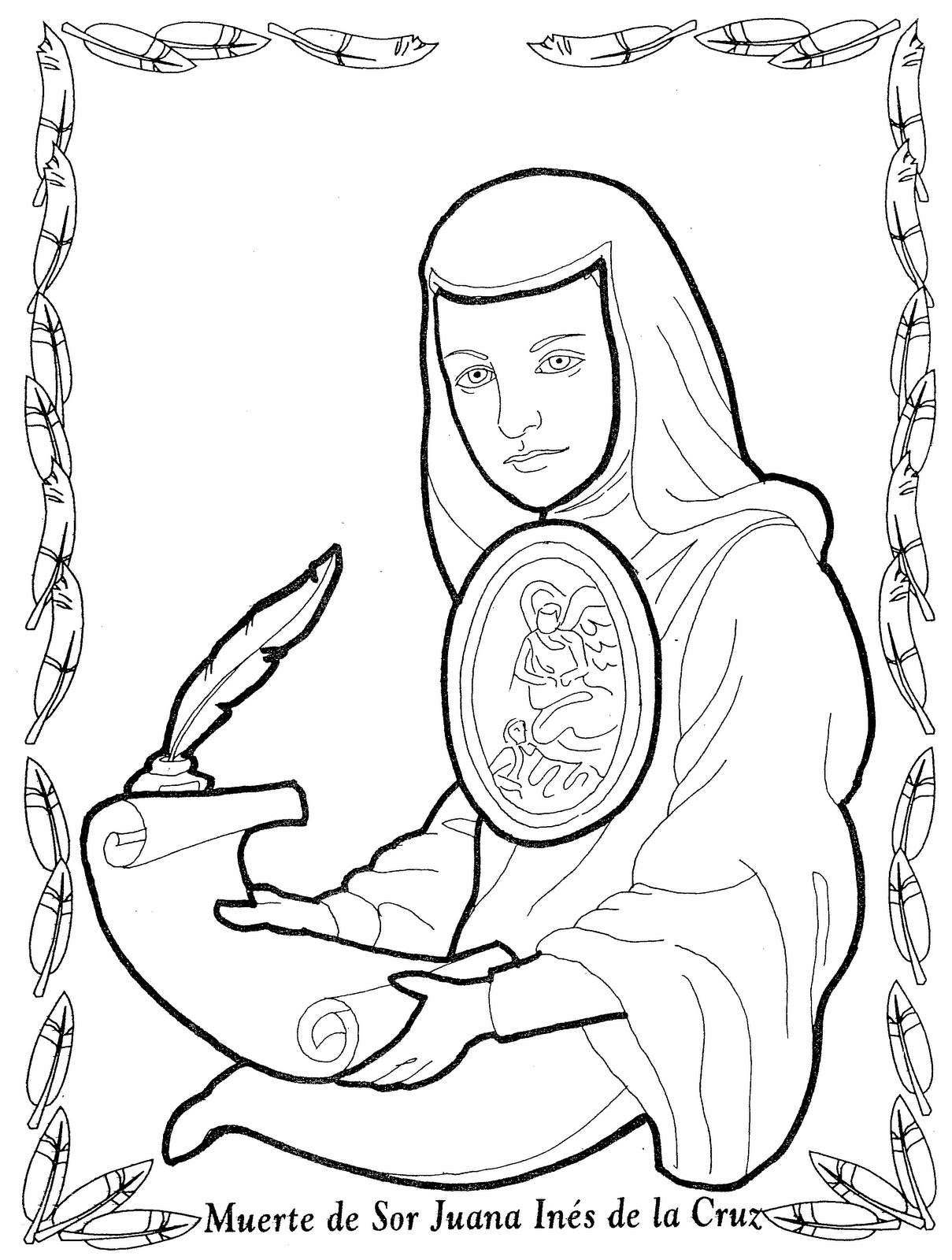 Sor Juana Inés de la Cruz para colorear
