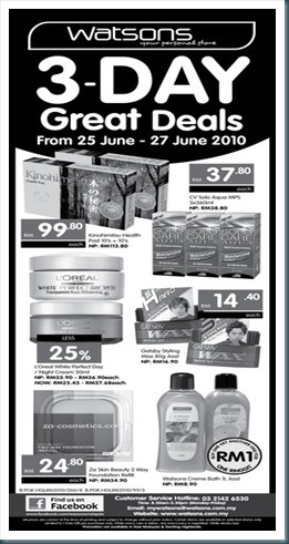 Watsons 3-Day Great Deals