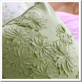green applique pillow