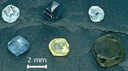 Synthetic diamonds of various colors grown by the high-pressure high-temperature technique - from the wikipedia