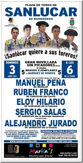 cartel novillada sanlucar 3 abril 2011