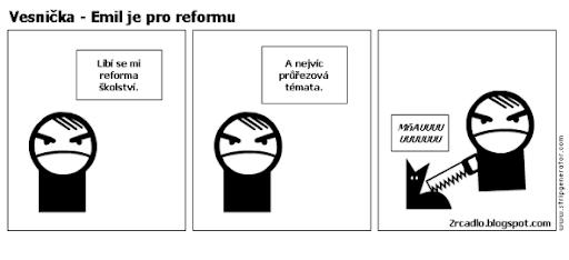 Komiks Vesnička - Zlý skřítek Emil souhlasí s reformou školství