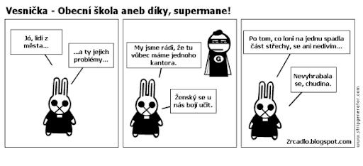 Komiks Vesnička - Obecní škola aneb díky supermane.