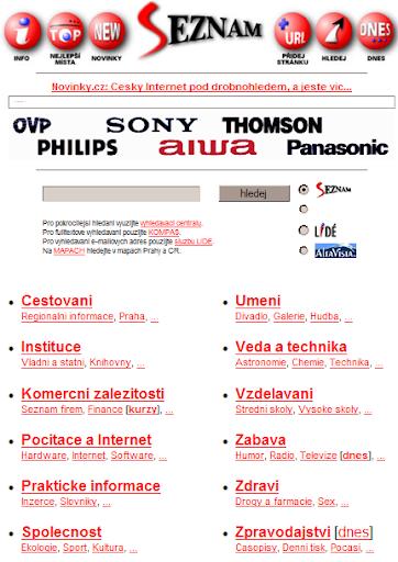 Seznam - Náhled z roku 1998