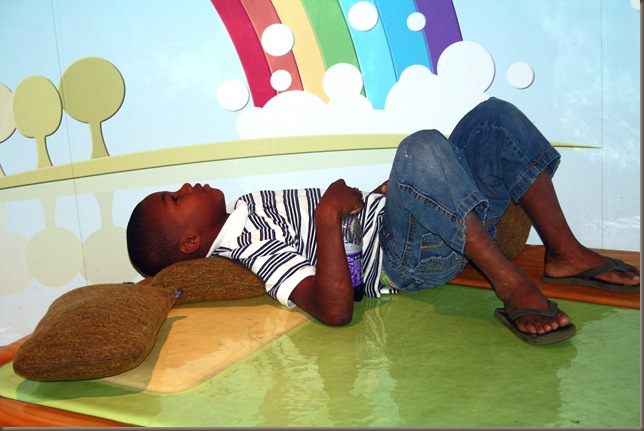 naji sleeping in rainbow world