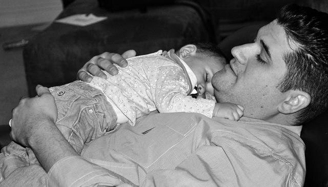 sophia sleeping on david so sweet