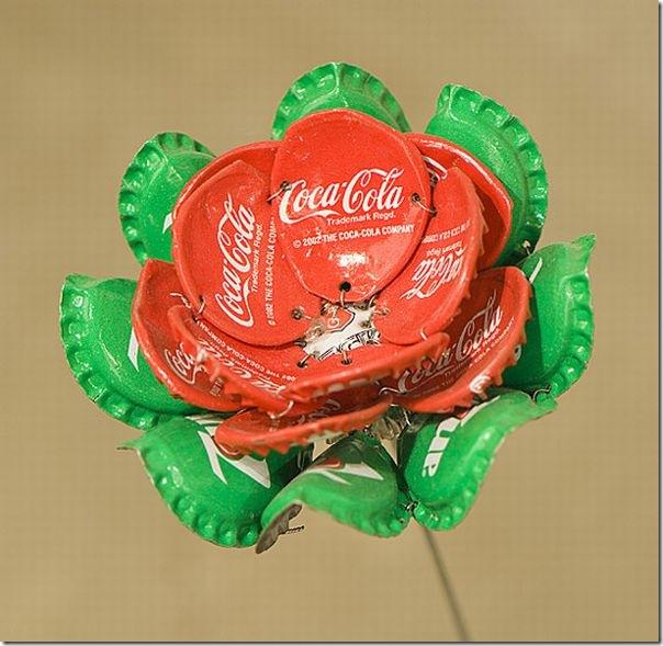 Arte com tampinhas de refrigerante