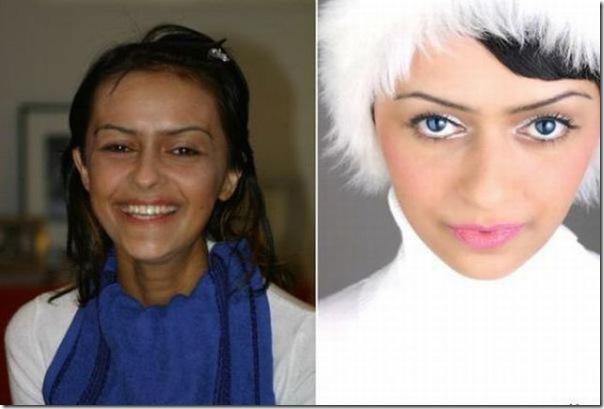 Garotas antes e depios da maquiagem