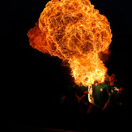 Shakrain Fire Breathing by Ahmed Omar Aziz Bony - People Musicians & Entertainers