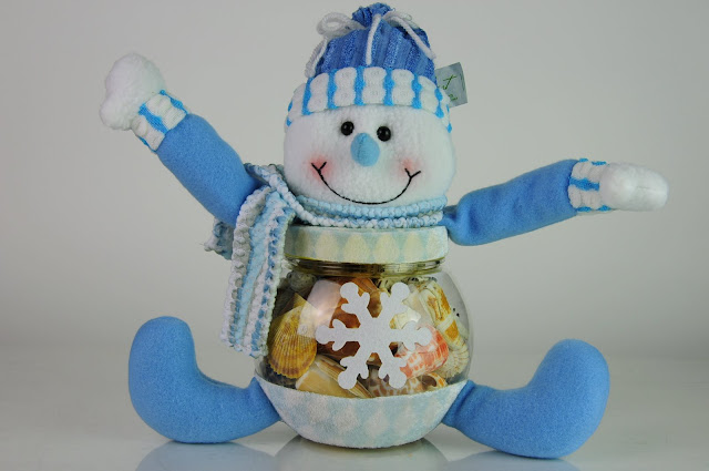 Snowman Seashell Jar