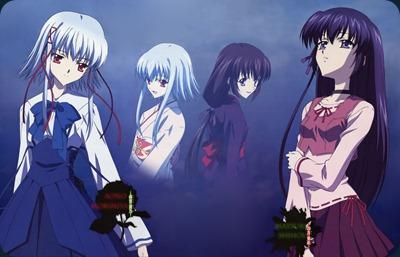 """Matsuri y Aono, al fondo se encuntran sus respectivos """"yo"""" del pasado"""