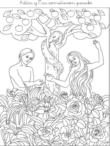 Hermosa Adán Y Eva Colorear Página Lds Ilustración - Páginas Para ...