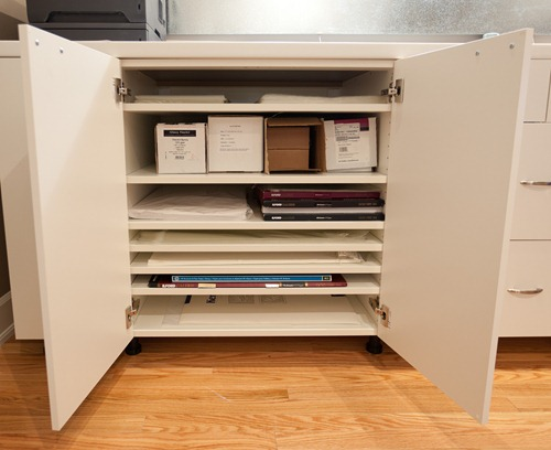 Inside the primary paper storage cabinet
