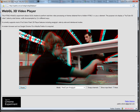 WebGL 3D video player