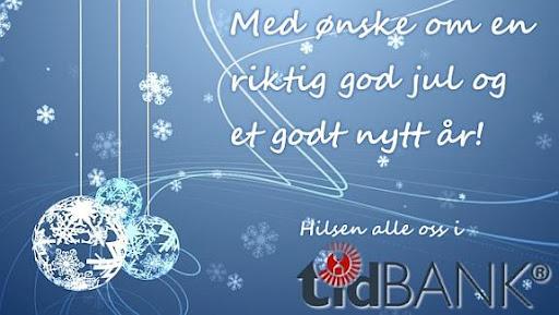 Med ønske om en god jul og et riktig godt nytt år fra alle oss i tidBANK