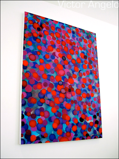 Victor Angelo purple oil red blue painting editions fine arts modern contemporary art