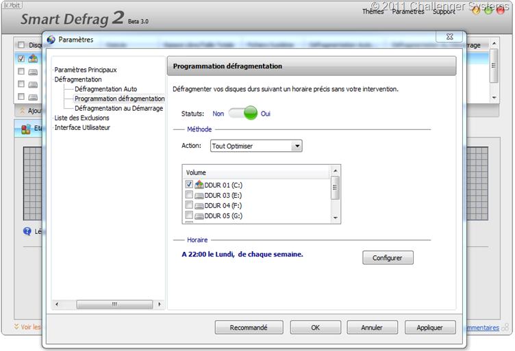 SmartDefrag2-Paramètres