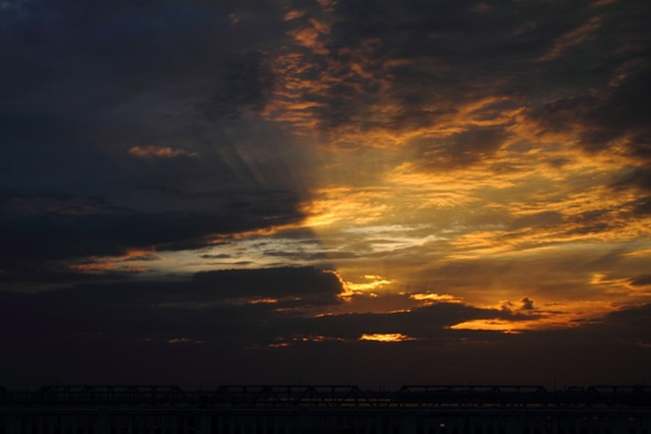 Setting Sun over Mahanadi River Bridge
